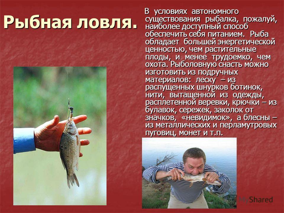 Рыбная ловля. В условиях автономного существования рыбалка, пожалуй, наиболее доступный способ обеспечить себя питанием. Рыба обладает большей энергетической ценностью, чем растительные плоды, и менее трудоемко, чем охота. Рыболовную снасть можно изг
