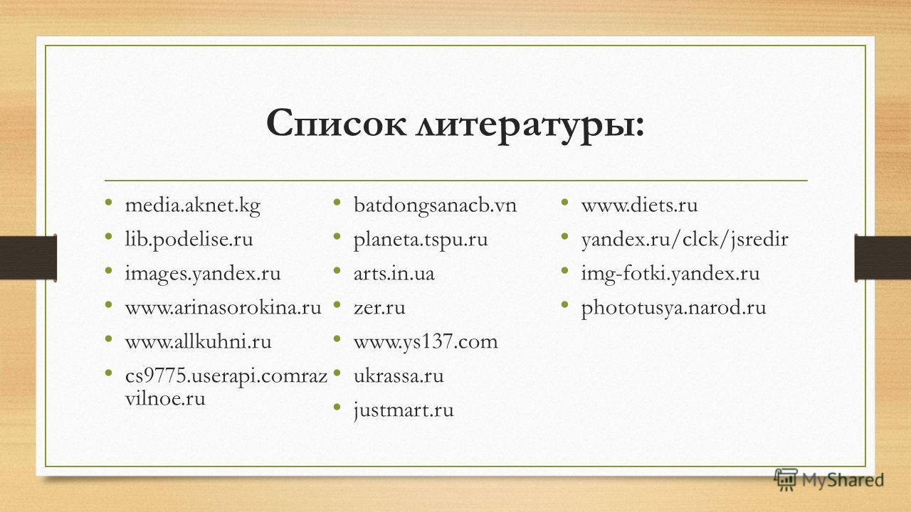 Список литературы: media.aknet.kg lib.podelise.ru images.yandex.ru www.arinasorokina.ru www.allkuhni.ru cs9775.userapi.comraz vilnoe.ru batdongsanacb.vn planeta.tspu.ru arts.in.ua zer.ru www.ys137. com ukrassa.ru justmart.ru www.diets.ru yandex.ru/cl
