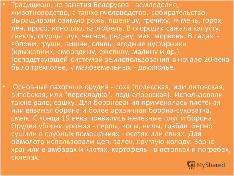 Традиционные занятия Белорусов - земледелие, животноводство, а также пчеловодство, собирательство. Выращивали озимую рожь, пшеницу, гречиху, ячмень, горох, лён, просо, коноплю, картофель. В огородах сажали капусту, свёклу, огурцы, лук, чеснок, редьку