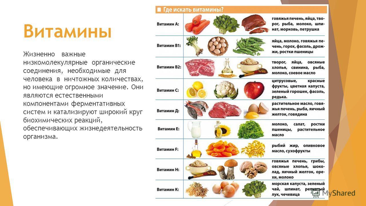 Витамины Жизненно важные низкомолекулярные органические соединения, необходимые для человека в ничтожных количествах, но имеющие огромное значение. Они являются естественными компонентами ферментативных систем и катализируют широкий круг биохимически