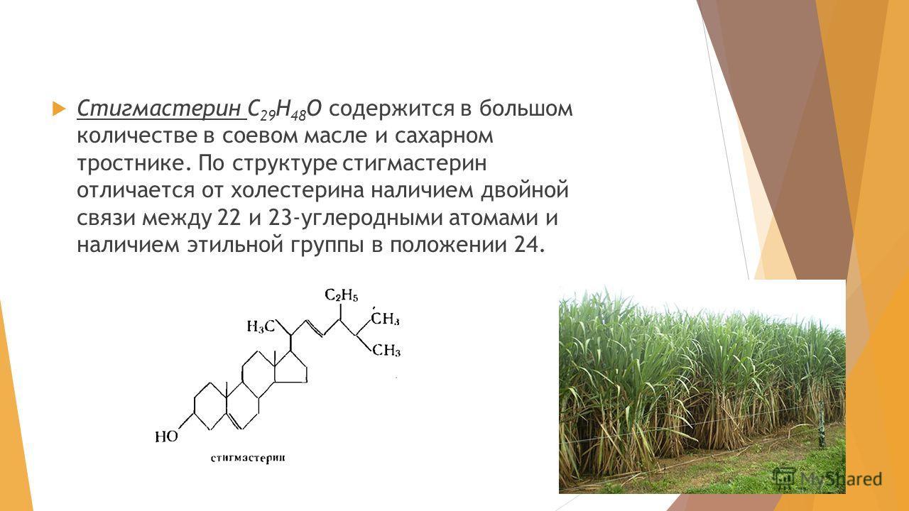 Стигмастерин С 29 H 48 О содержится в большом количестве в соевом масле и сахарном тростнике. По структуре стигмастерин отличается от холестерина наличием двойной связи между 22 и 23-углеродными атомами и наличием этильной группы в положении 24.