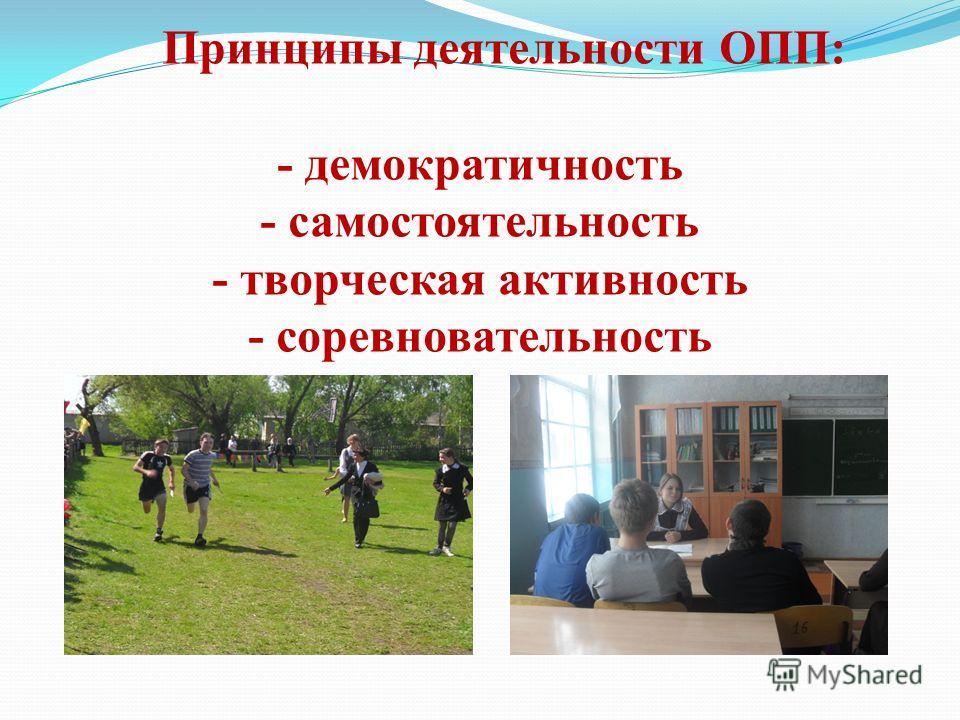 Принципы деятельности ОПП: - демократичность - самостоятельность - творческая активность - соревновательность