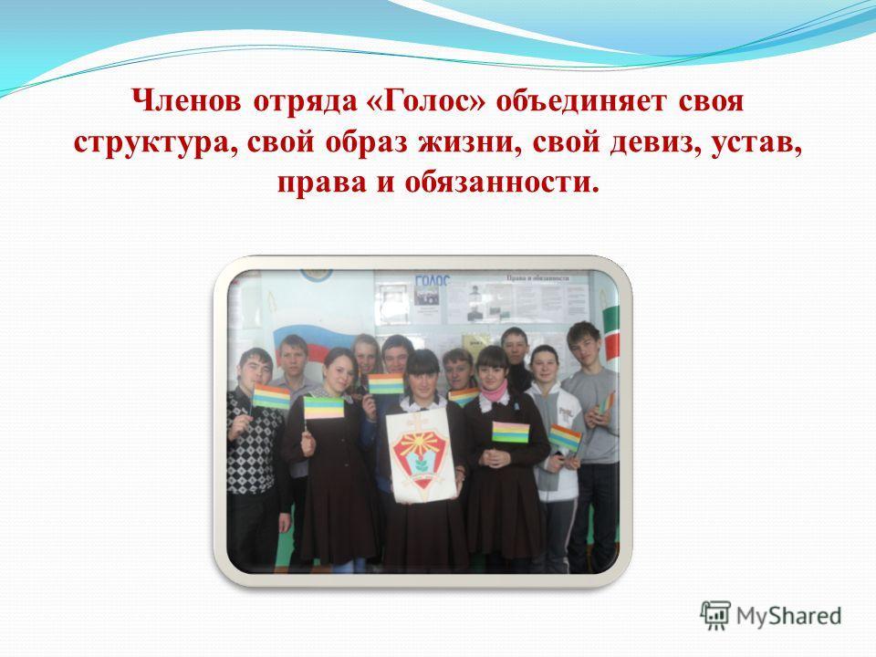 Членов отряда «Голос» объединяет своя структура, свой образ жизни, свой девиз, устав, права и обязанности.