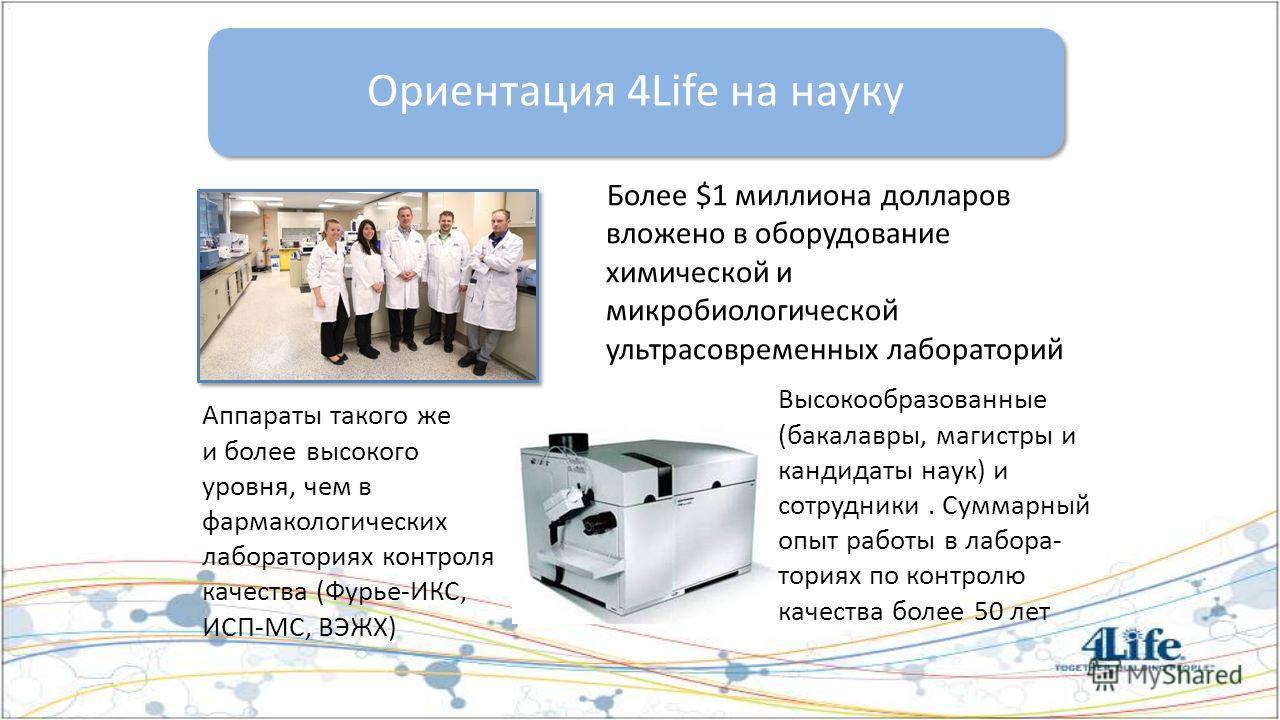 Более $1 миллиона долларов вложено в оборудование химической и микробиологической ультрасовременных лабораторий Ориентация 4Life на науку Аппараты такого же и более высокого уровня, чем в фармакологических лабораториях контроля качества (Фурье-ИКС, И