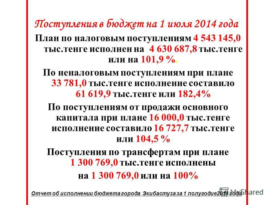 Поступления в бюджет на 1 июля 2014 года План по налоговым поступлениям 4 543 145,0 тыс.тенге исполнен на 4 630 687,8 тыс.тенге или на 101,9 %. По неналоговым поступлениям при плане 33 781,0 тыс.тенге исполнение составило 61 619,9 тыс.тенге или 182,4