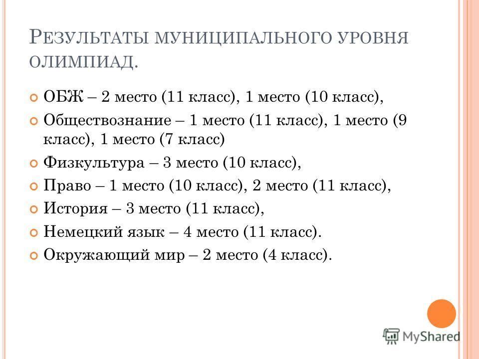 Р ЕЗУЛЬТАТЫ МУНИЦИПАЛЬНОГО УРОВНЯ ОЛИМПИАД. ОБЖ – 2 место (11 класс), 1 место (10 класс), Обществознание – 1 место (11 класс), 1 место (9 класс), 1 место (7 класс) Физкультура – 3 место (10 класс), Право – 1 место (10 класс), 2 место (11 класс), Исто