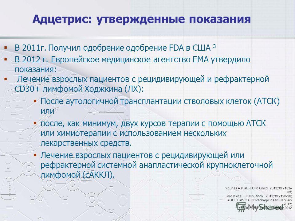 Адцетрис: утвержденные показания В 2011 г. Получил одобрение одобрение FDA в США 3 В 2012 г. Европейское медицинское агентство EMA утвердило показания: Лечение взрослых пациентов с рецидивирующей и рефрактерной CD30+ лимфомой Ходжкина (ЛХ): После аут