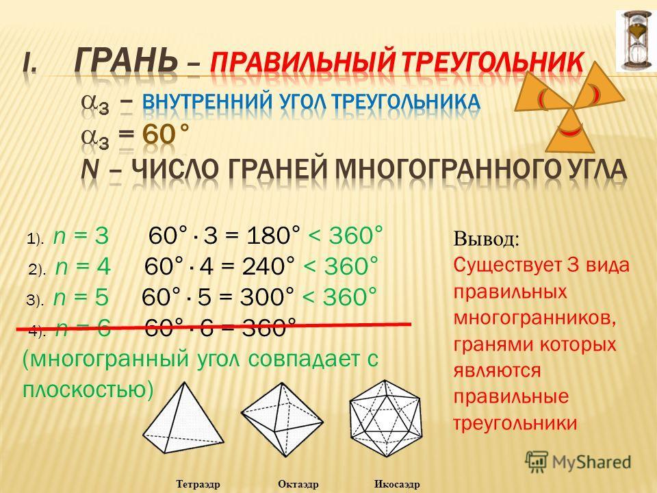 Проблема: «Много ли существует видов правильных многогранникникников?» (Приложение 3). задание 2.