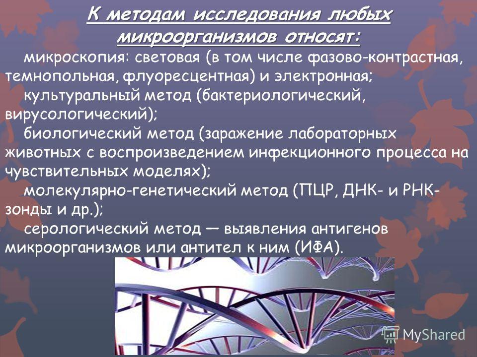 К методам исследования любых микроорганизмов относят: микроскопия: световая (в том числе фазово-контрастная, темнопольная, флуоресцентная) и электронная; культуральный метод (бактериологический, вирусологический); биологический метод (заражение лабор