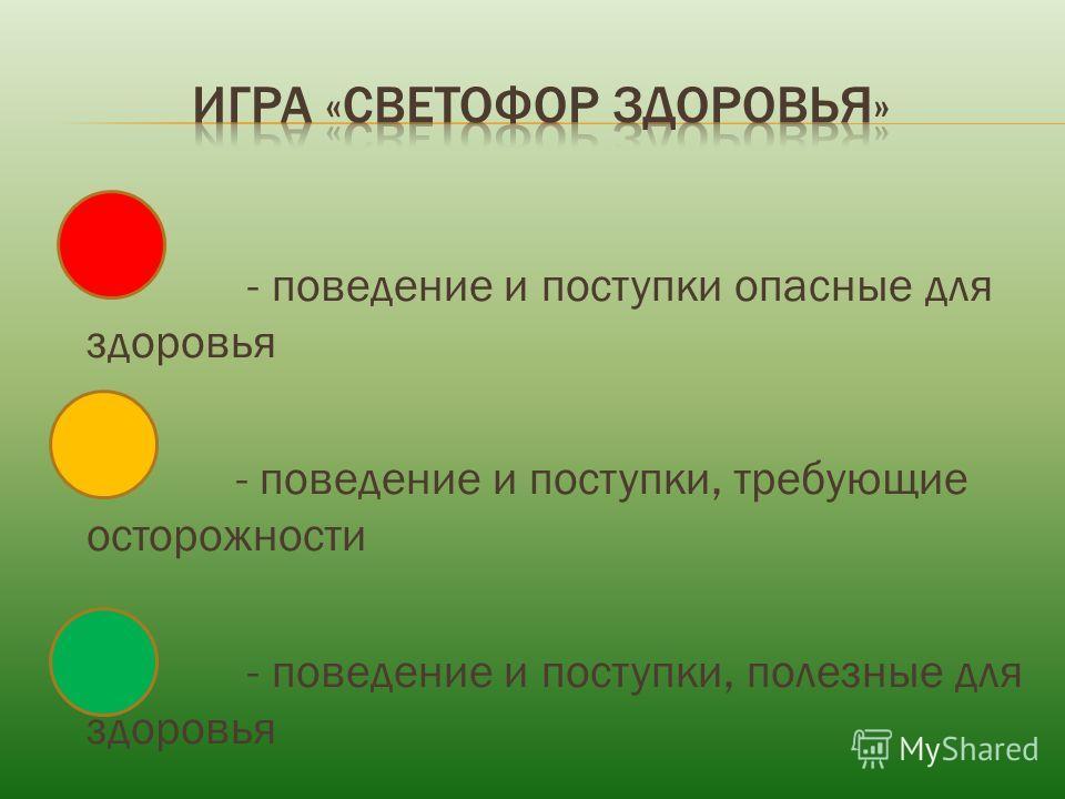 - поведение и поступки опасные для здоровья - поведение и поступки, требующие осторожности - поведение и поступки, полезные для здоровья