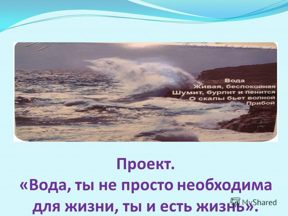 Проект. «Вода, ты не просто необходима для жизни, ты и есть жизнь».