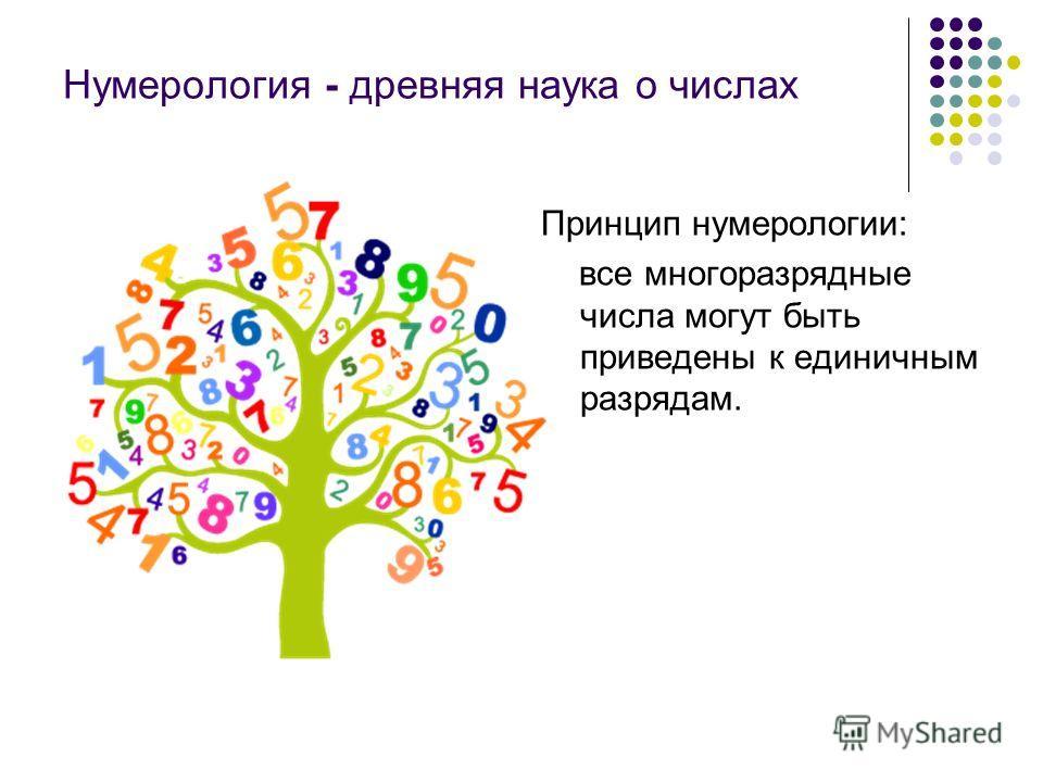 Нумерология - древняя наука о числах Принцип нумерологии: все многоразрядные числа могут быть приведены к единичным разрядам.