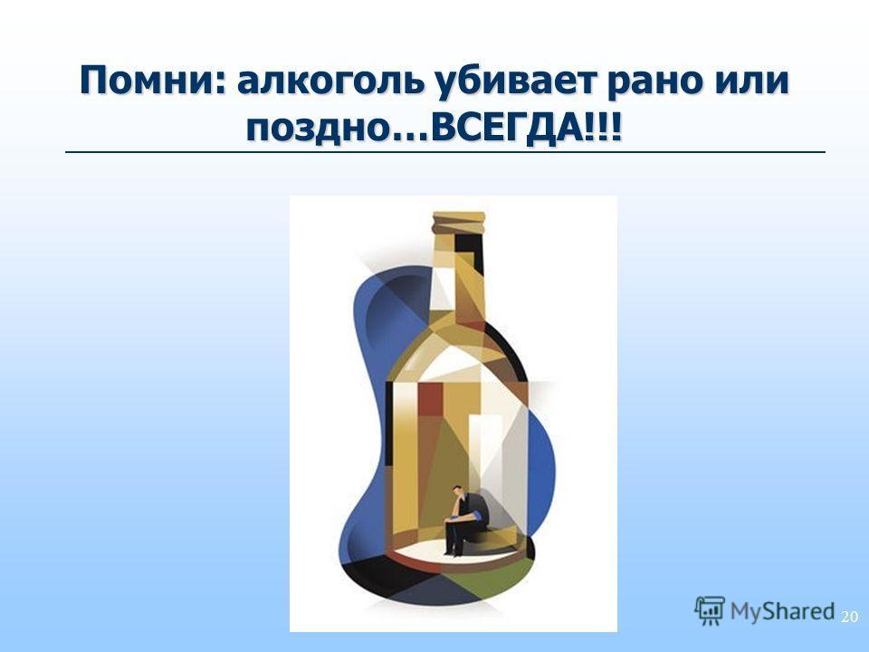 20 Помни: алкоголь убивает рано или поздно…ВСЕГДА!!!