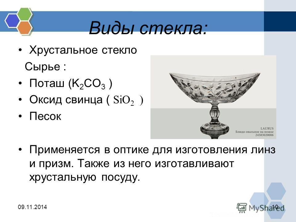 Виды стекла: Хрустальное стекло Сырье : Поташ (K 2 CO 3 ) Оксид свинца ( SiO 2 ) Песок Применяется в оптике для изготовления линз и призм. Также из него изготавливают хрустальную посуду. 09.11.201410