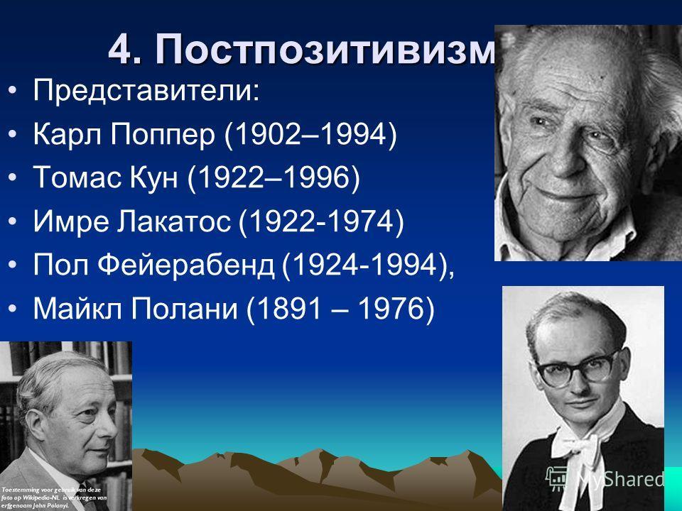 4. Постпозитивизм Представители: Карл Поппер (1902–1994) Томас Кун (1922–1996) Имре Лакатос (1922-1974) Пол Фейерабенд (1924-1994), Майкл Полани (1891 – 1976)