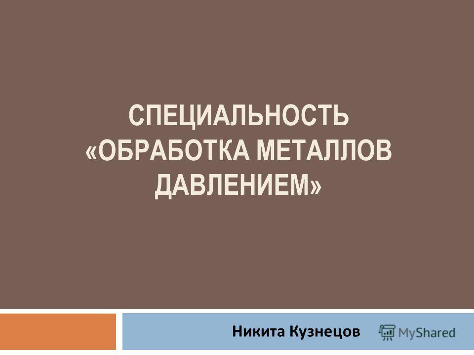 СПЕЦИАЛЬНОСТЬ «ОБРАБОТКА МЕТАЛЛОВ ДАВЛЕНИЕМ» Никита Кузнецов