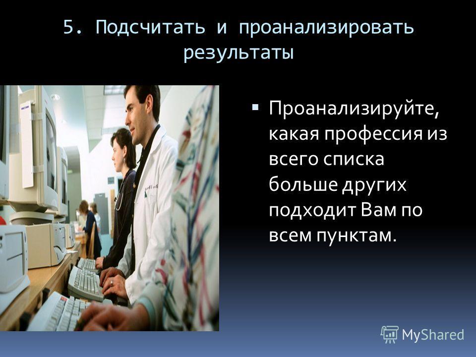 5. Подсчитать и проанализировать результаты Проанализируйте, какая профессия из всего списка больше других подходит Вам по всем пунктам.