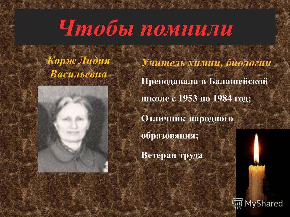 Чтобы помнили Денисова Анна Степановна Учитель истории Преподавала в Балашейской школе с 1956 по 1986 год; Ветеран труда