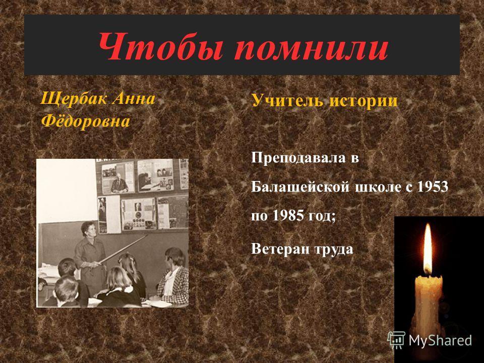 Чтобы помнили Корж Лидия Васильевна Учитель химии, биологии Преподавала в Балашейской школе с 1953 по 1984 год; Отличник народного образования; Ветеран труда