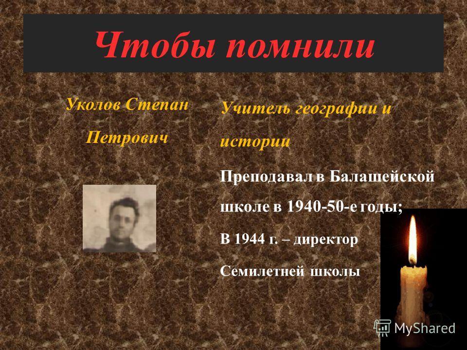 Чтобы помнили Островский Василий Петрович – учитель физики Преподавал в Балашейской школе с 1954 по 1964 год Няньков Евгений Васильевич – учитель физики Преподавал в Балашейской школе с 1955 года