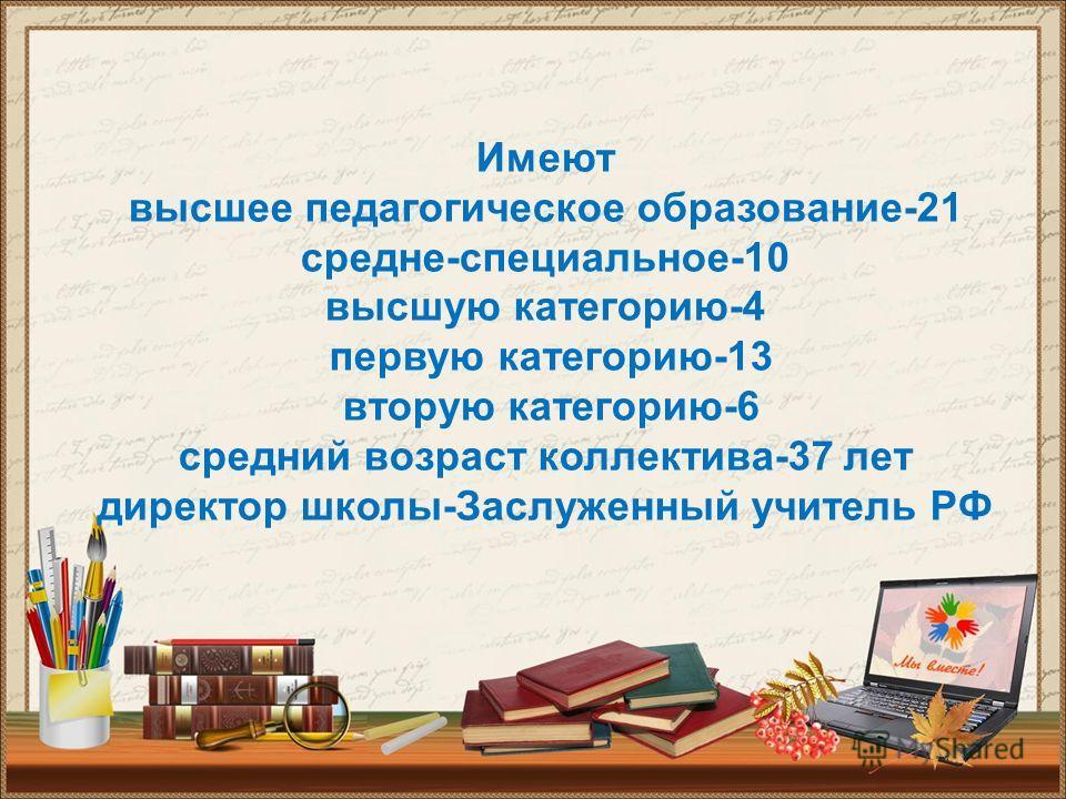 Имеют высшее педагогическое образование-21 средне-специальное-10 высшую категорию-4 первую категорию-13 вторую категорию-6 средний возраст коллектива-37 лет директор школы-Заслуженный учитель РФ