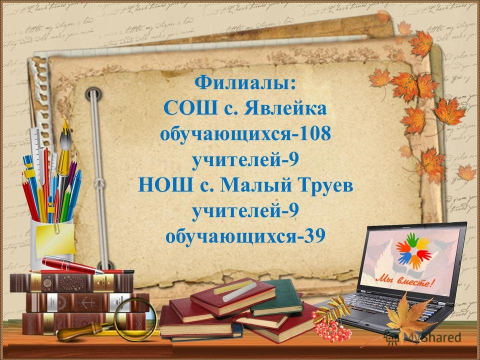 Филиалы: СОШ с. Явлейка обучающихся-108 учителей-9 НОШ с. Малый Труев учителей-9 обучающихся-39