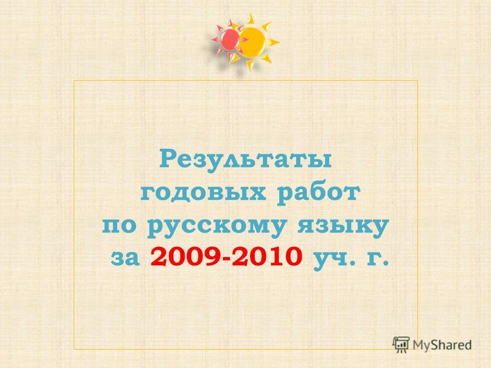Результаты годовых работ по русскому языку за 2009-2010 уч. г.