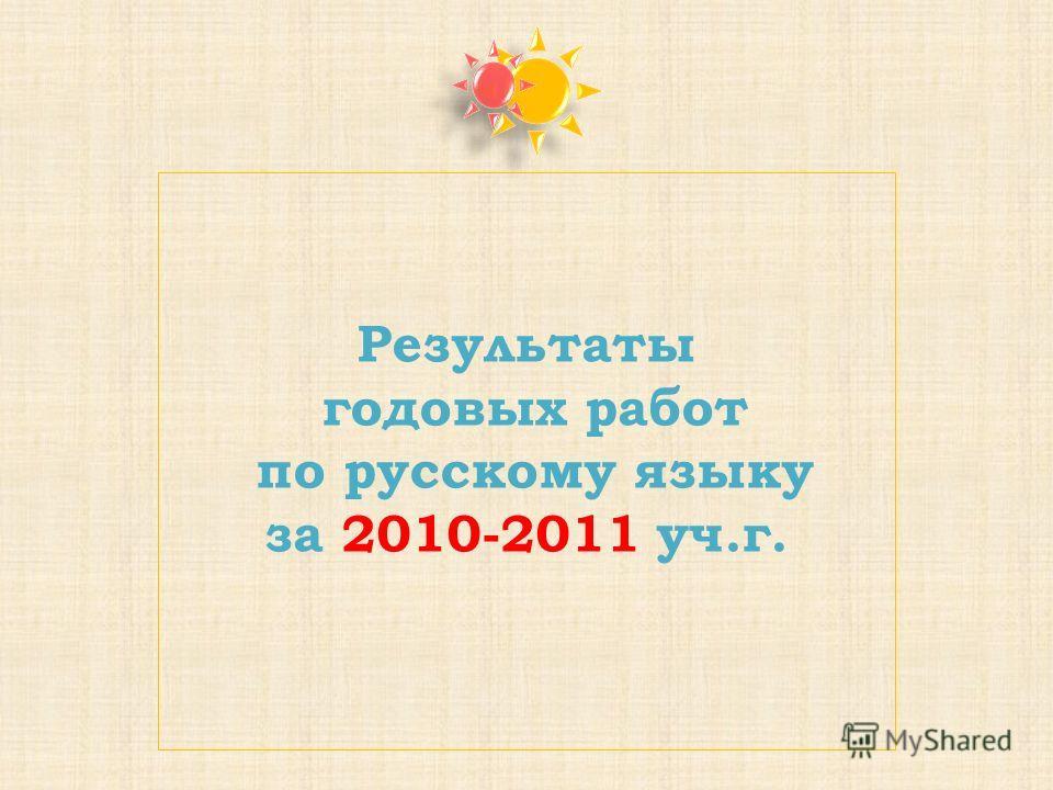 Результаты годовых работ по русскому языку за 2010-2011 уч.г.