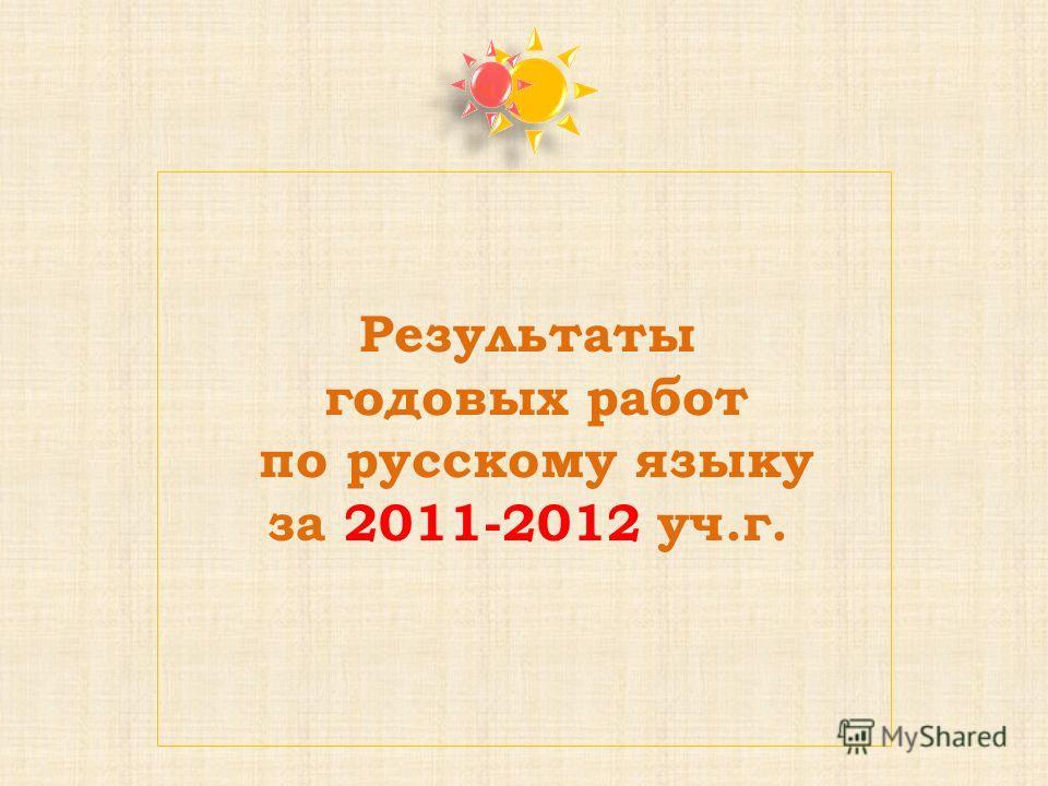 Результаты годовых работ по русскому языку за 2011-2012 уч.г.