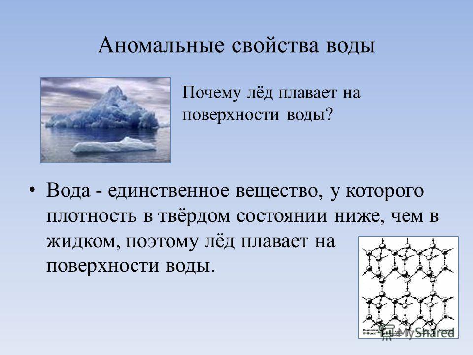 Аномальные свойства воды Вода - единственное вещество, у которого плотность в твёрдом состоянии ниже, чем в жидком, поэтому лёд плавает на поверхности воды. Почему лёд плавает на поверхности воды?