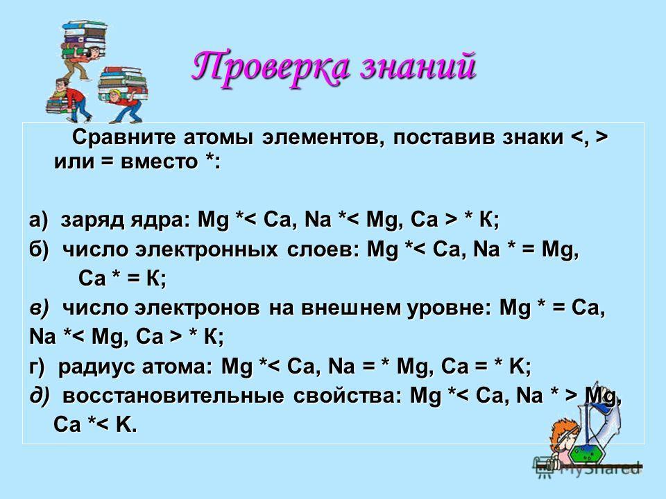 Проверка знаний Сравните атомы элементов, поставив знаки или = вместо *: Сравните атомы элементов, поставив знаки или = вместо *: а) заряд ядра: Mg * * К; б) число электронных слоев: Mg *< Ca, Na * = Mg, Ca * = К; Ca * = К; в) число электронов на вне