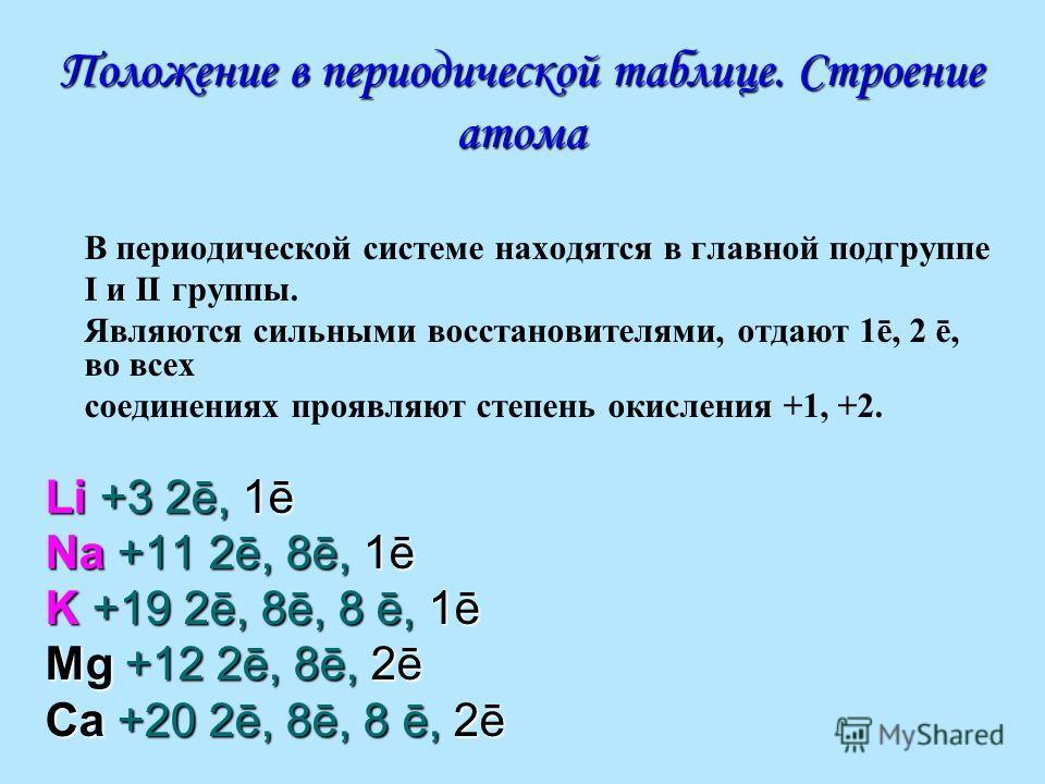 Положение в периодической таблице. Строение атома В периодической системе находятся в главной подгруппе I и II группы. Являются сильными восстановителями, отдают 1ē, 2 ē, во всех соединениях проявляют степень окисления +1, +2. Li +3 2ē, 1ē Na +11 2ē,