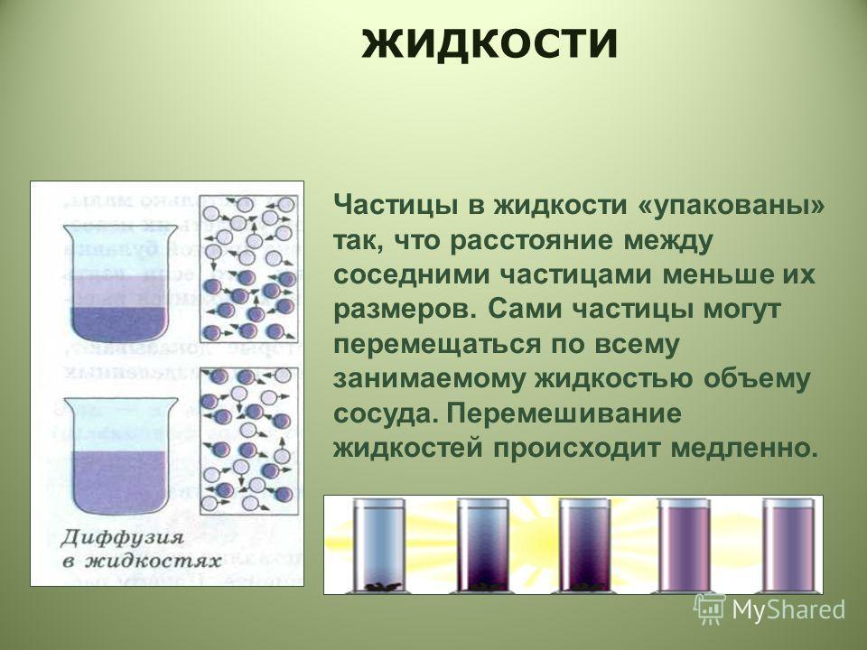 Частицы в жидкости «упакованы» так, что расстояние между соседними частицами меньше их размеров. Сами частицы могут перемещаться по всему занимаемому жидкостью объему сосуда. Перемешивание жидкостей происходит медленно.