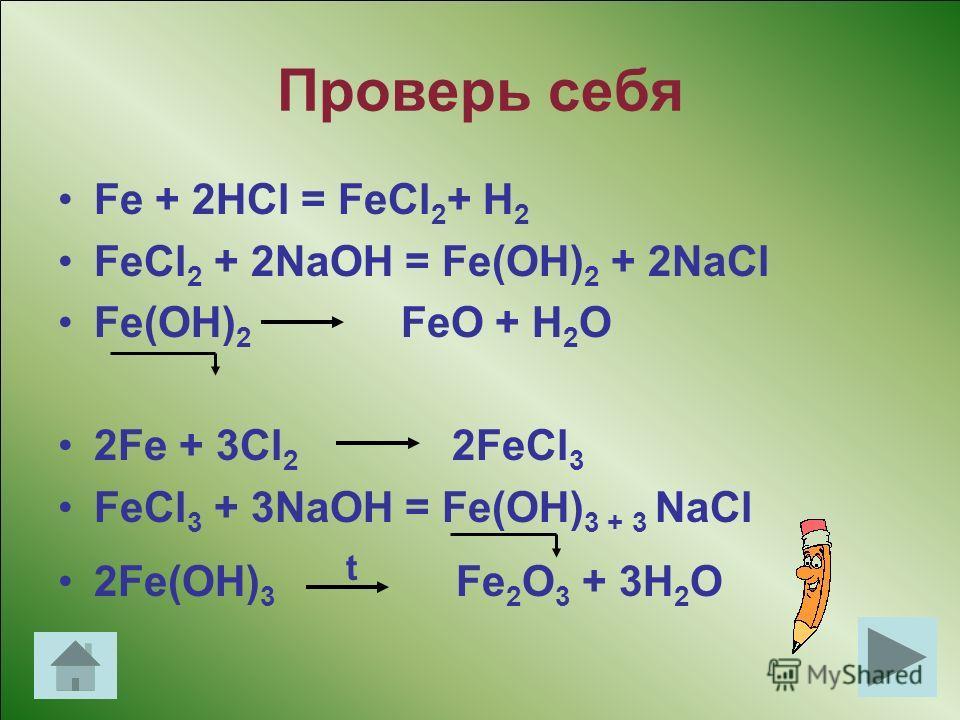 Генетический ряд Fe +2 Fe +2 FeCl 2 Fe(OH) 2 FeO Генетический ряд Fe +3 Fe +3 FeCl 3 Fe(OH) 3 Fe 2 O 3 Проверь себя