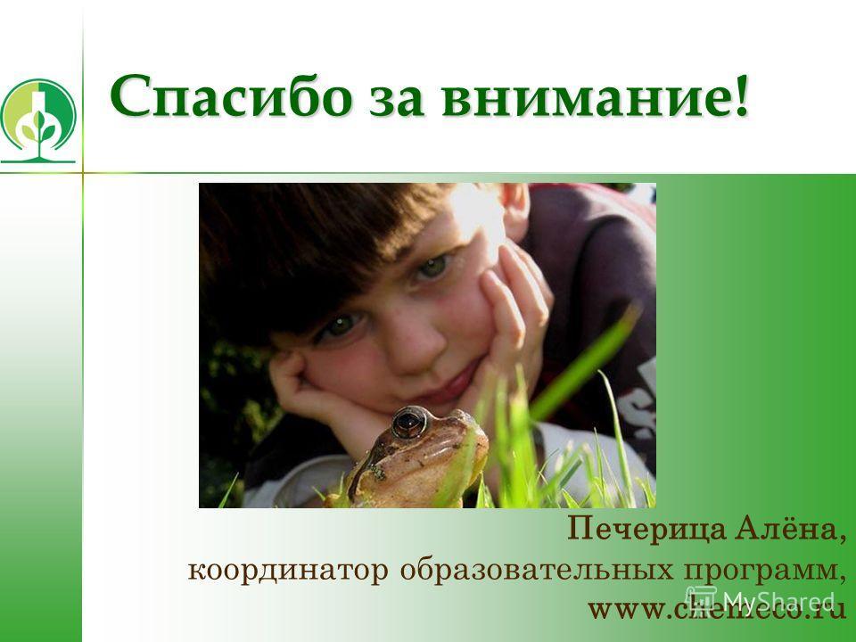 Спасибо за внимание! Печерица Алёна, координатор образовательных программ, www.chemeco.ru