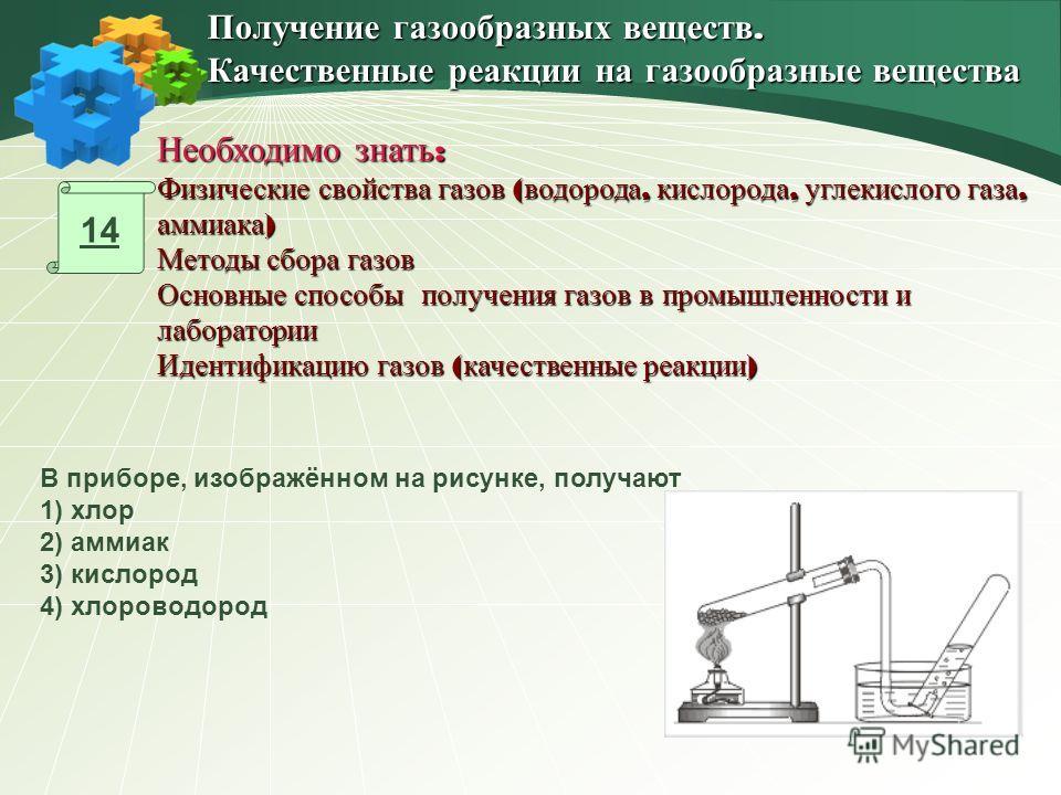 14 В приборе, изображённом на рисунке, получают 1) хлор 2) аммиак 3) кислород 4) хлороводород Получение газообразных веществ. Качественные реакции на газообразные вещества Необходимо знать : Физические свойства газов ( водорода, кислорода, углекислог