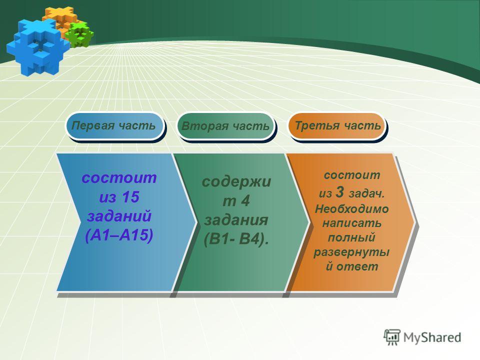 Вторая часть состоит из 15 заданий (А1–А15) Первая часть содержи т 4 задания (B1- В4). состоит из 3 задач. Необходимо написать полный развернутый ответ Третья часть