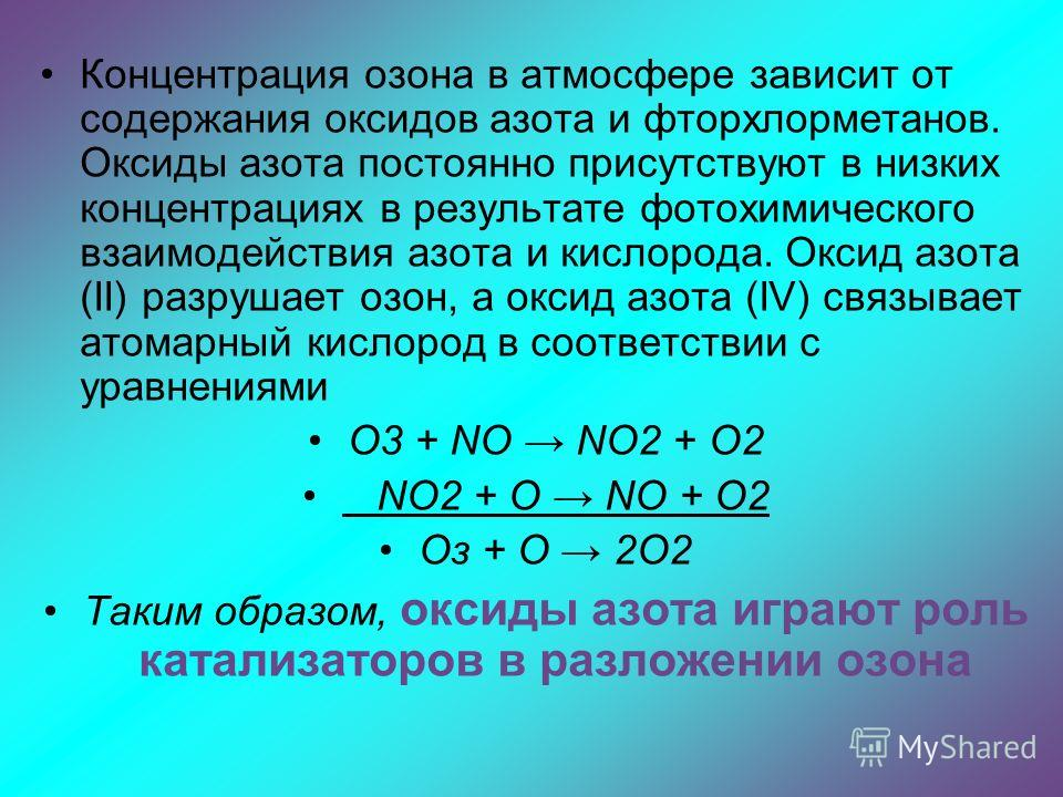 Концентрация озона в атмосфере зависит от содержания оксидов азота и фторхлорметанов. Оксиды азота постоянно присутствуют в низких концентрациях в результате фотохимического взаимодействия азота и кислорода. Оксид азота (II) разрушает озон, а оксид а