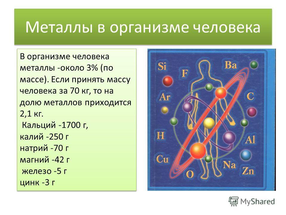 Металлы в организме человека В организме человека металлы -около 3% (по массе). Если принять массу человека за 70 кг, то на долю металлов приходится 2,1 кг. Кальций -1700 г, калий -250 г натрий -70 г магний -42 г железо -5 г цинк -3 г В организме чел