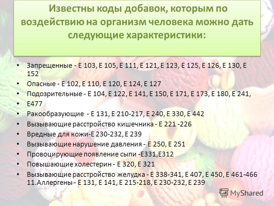 Известны коды добавок, которым по воздействию на организм человека можно дать следующие характеристики: Запрещенные - Е 103, Е 105, Е 111, Е 121, Е 123, Е 125, Е 126, Е 130, Е 152 Опасные - Е 102, Е 110, Е 120, Е 124, Е 127 Подозрительные - Е 104, Е