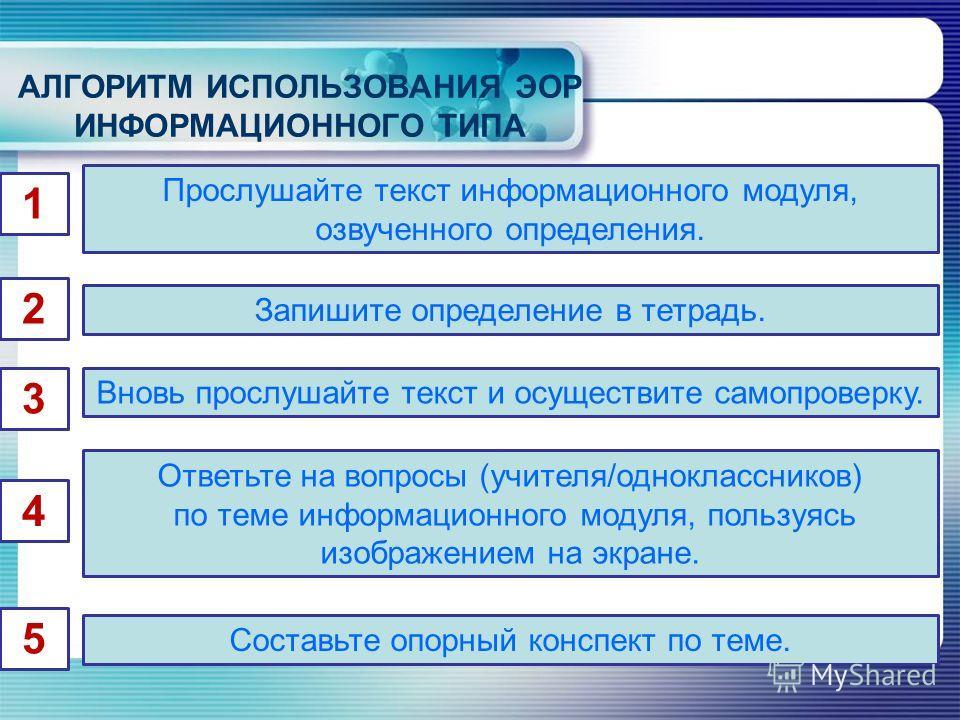 АЛГОРИТМ ИСПОЛЬЗОВАНИЯ ЭОР ИНФОРМАЦИОННОГО ТИПА 1 Прослушайте текст информационного модуля, озвученного определения. 2 Запишите определение в тетрадь. 3 4 Вновь прослушайте текст и осуществите самопроверку. Ответьте на вопросы (учителя/одноклассников