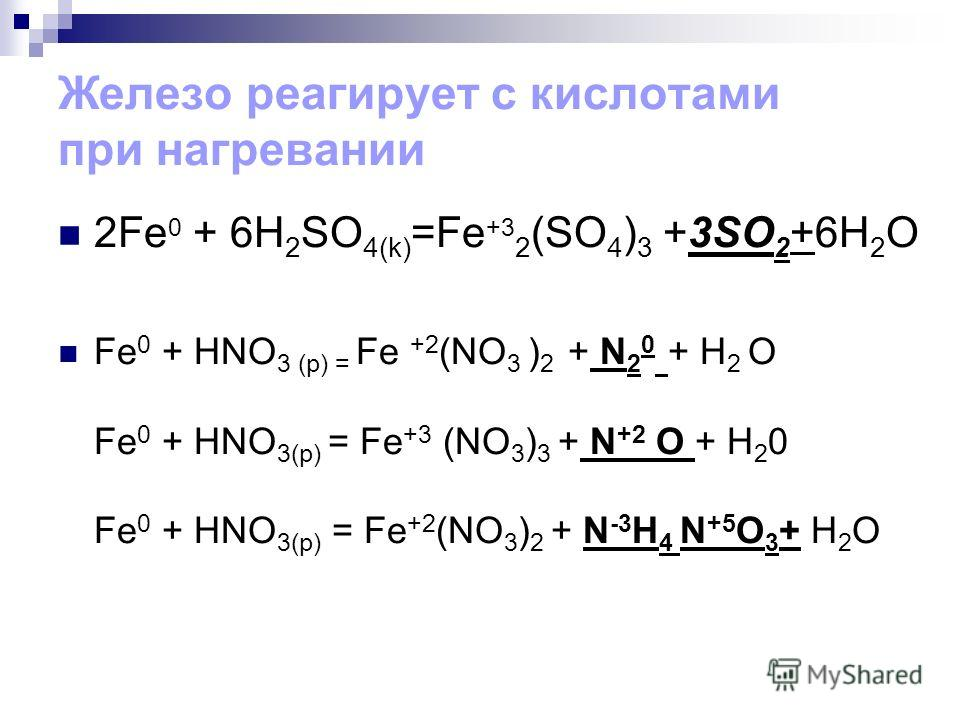 Железо реагирует с кислотами при нагревании 2Fe 0 + 6H 2 SO 4(k) =Fe +3 2 (SO 4 ) 3 +3SO 2 +6H 2 O Fe 0 + HNO 3 (p) = Fe +2 (NO 3 ) 2 + N 2 0 + H 2 O Fe 0 + HNO 3(р) = Fe +3 (NO 3 ) 3 + N +2 O + H 2 0 Fe 0 + HNO 3(р) = Fe +2 (NO 3 ) 2 + N -3 H 4 N +5