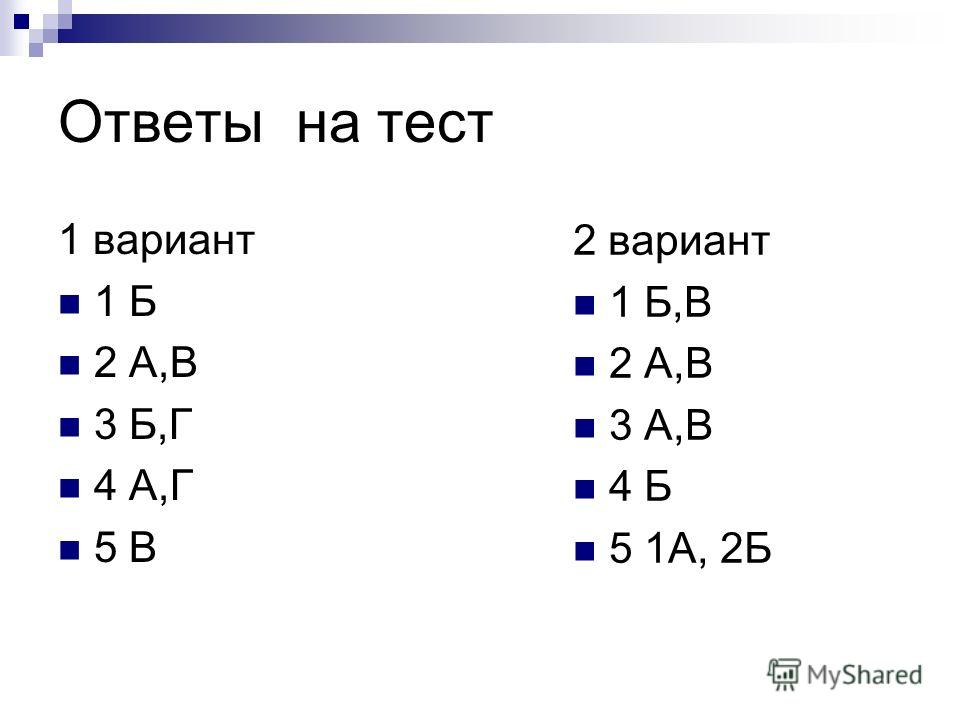 Ответы на тест 1 вариант 1 Б 2 А,В 3 Б,Г 4 А,Г 5 В 2 вариант 1 Б,В 2 А,В 3 А,В 4 Б 5 1А, 2Б