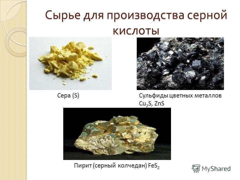 Сырье для производства серной кислоты Сера (S) Сульфиды цветных металлов Cu 2 S, ZnS Пирит (серный колчедан) FeS 2