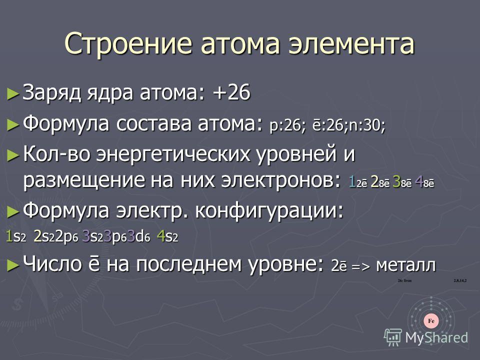 Строение атома элемента Заряд ядра атома: +26 Заряд ядра атома: +26 Формула состава атома: p:26; ē:26;n:30; Формула состава атома: p:26; ē:26;n:30; Кол-во энергетических уровней и размещение на них электронов: 1 2 ē 2 8 ē 3 8 ē 4 8 ē Кол-во энергетич