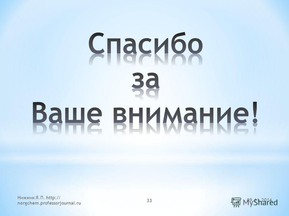 09.11.2014 Нижник Я.П. http:// norgchem.professorjournal.ru 33