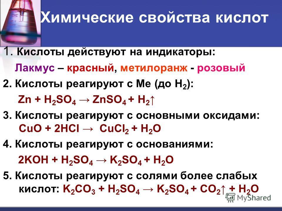 Химические свойства кислот 1. Кислоты действуют на индикаторы: Лакмус – красный, метилоранж - розовый 2. Кислоты реагируют с Ме (до Н 2 ): Zn + H 2 SO 4 ZnSO 4 + H 2 3. Кислоты реагируют с основными оксидами: CuO + 2HCI CuCI 2 + H 2 O 4. Кислоты реаг