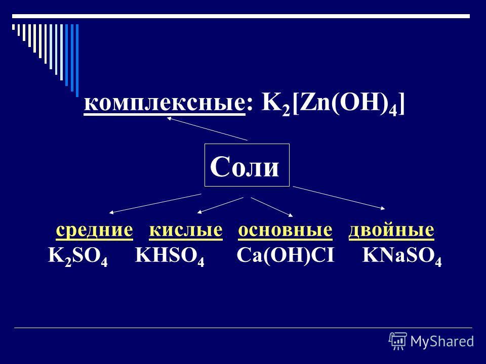 комплексные: K 2 [Zn(OH) 4 ] Соли средние кислые основные двойные K 2 SO 4 KHSO 4 Ca(OH)CI KNaSO 4