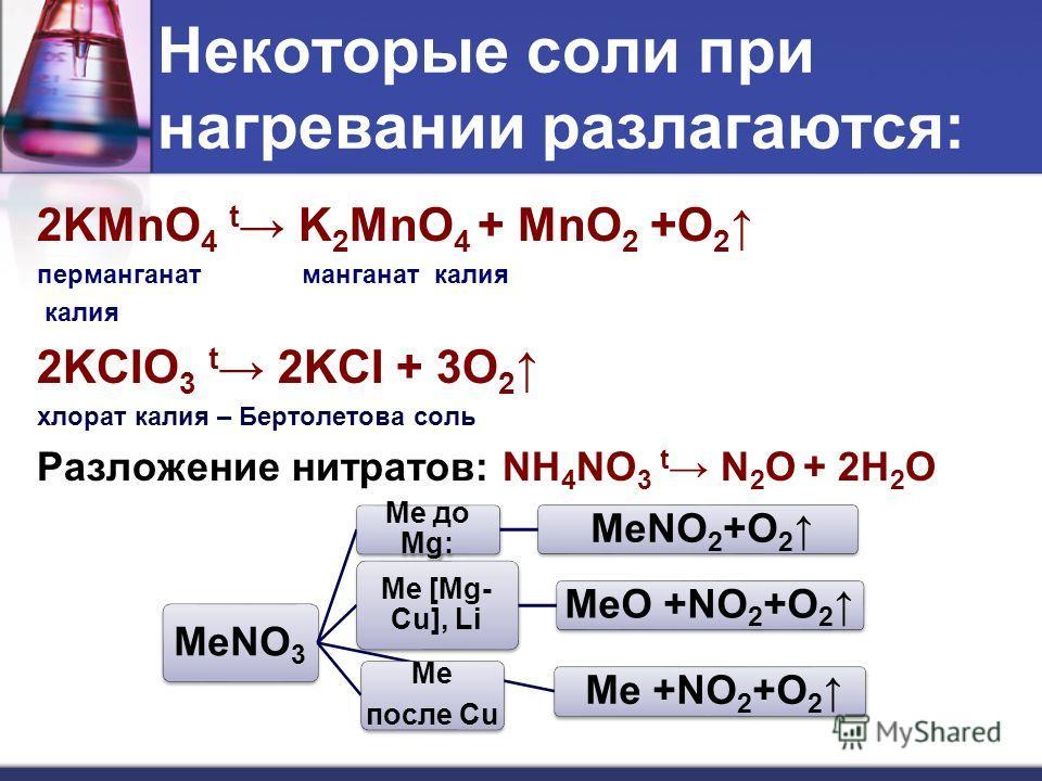 Некоторые соли при нагревании разлагаются: 2KMnO 4 t K 2 MnO 4 + MnO 2 +O 2 перманганат манганат калия калия 2KCIO 3 t 2KCI + 3O 2 хлорат калия – Бертолетова соль Разложение нитратов: NH 4 NO 3 t N 2 O + 2H 2 O МеNO3 Ме до Mg: МеNO2+O2 Ме [Mg- Cu], L
