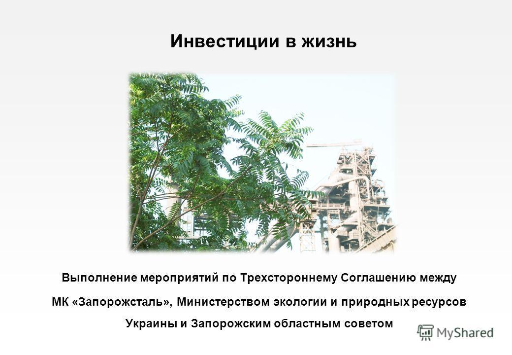 Выполнение мероприятий по Трехстороннему Соглашению между МК «Запорожсталь», Министерством экологии и природных ресурсов Украины и Запорожским областным советом Инвестиции в жизнь